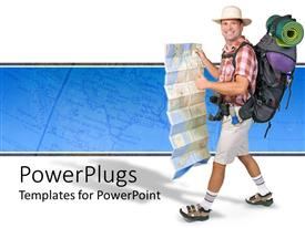 PowerPlugs: PowerPoint template with campaign gear with a hiker happy camper travel world map white and blue background