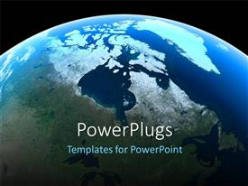 PowerPlugs: PowerPoint template with canada and the North Pole as seen from space with black color