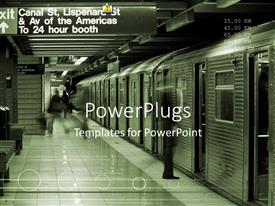PowerPlugs: PowerPoint template with canal street subway station in downtown with train waiting