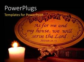 PowerPlugs: PowerPoint template with a candle beside a Holy Bible and a Christian quote