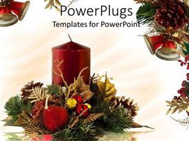 PowerPoint template displaying a candle with celebration material in the background