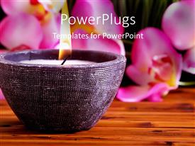 PowerPlugs: PowerPoint template with a candle with flower petals in the background
