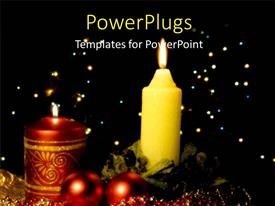 PowerPoint template displaying a candle with a number of lights in background
