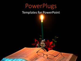 PowerPlugs: PowerPoint template with a candle with a number of roses and a bible