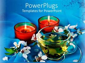 PowerPoint template displaying candles with flowers and a cup with green tea