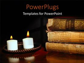PowerPoint template displaying candles illuminating antique world history volumes in old German