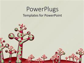 PowerPoint template displaying candy plantation with red undulating mountain in view
