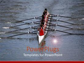PowerPlugs: PowerPoint template with canoe being rowed uniformly by a team on a sea