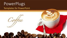 PowerPoint template displaying white cup of coffee with coffee beans on white background