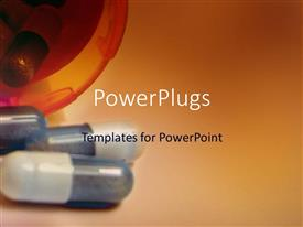 PowerPlugs: PowerPoint template with capsules on a surface and in a plastic container on gradient brown background
