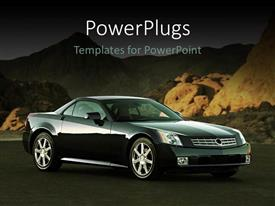 PowerPoint template displaying car, automobile, sport car, elegant car, black car in rocky mountain setting