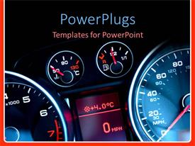 PowerPoint template displaying car dashboard showing speed meter, fuel meter, engine temperature meter and thermometer