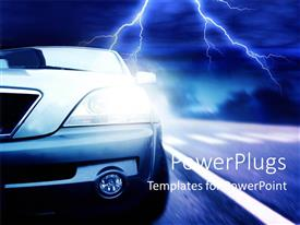 PowerPoint template displaying a car with a lightning flash in the background