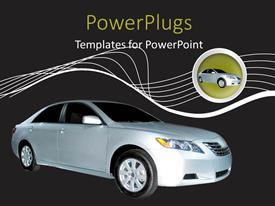 PowerPlugs: PowerPoint template with a car with a number of lines in the background