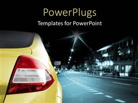 PowerPlugs: PowerPoint template with a car on a road with lights in the background