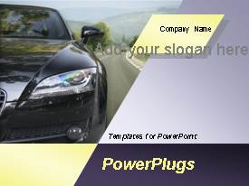 PowerPoint template displaying car is running on the highway with the blue sky