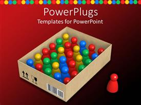 PowerPlugs: PowerPoint template with cardboard box filled with colorful pawns and red pawn standing outside the box