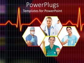PowerPlugs: PowerPoint template with cardiogram behind Healthcare professionals in hexagons