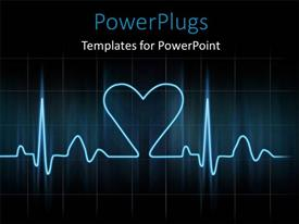 PowerPlugs: PowerPoint template with cardiogram with glowing blue lines on black background with love symbol