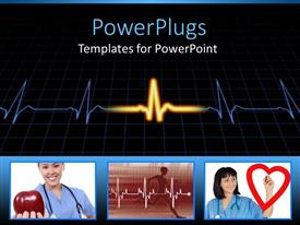 PowerPoint template displaying cardiogram pulse with collage of health related depictions