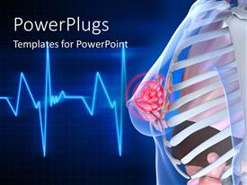 PowerPlugs: PowerPoint template with cardiogram pulse line in background with anatomy of female upper body
