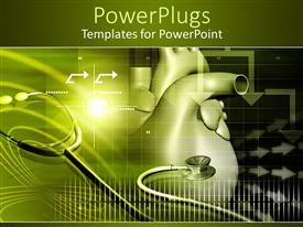 PowerPlugs: PowerPoint template with cardiology with heart, stethoscope, arrows, medicine