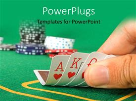 PowerPoint template displaying cards held by fingers showing a royal flush with chips