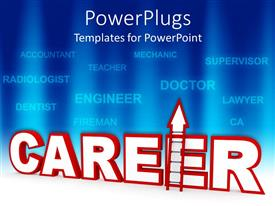 PowerPlugs: PowerPoint template with career ladder metaphor with job names on blue background