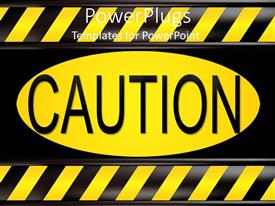 PowerPlugs: PowerPoint template with careful caution warning sign danger yellow and black sign stop warning