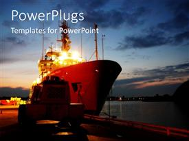 PowerPlugs: PowerPoint template with a cargo ship sailing on a harbor at night