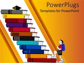 PowerPlugs: PowerPoint template with a cartoon of a boy climbing up a flight of stairs made with books