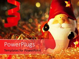 PowerPlugs: PowerPoint template with a cartoon with celebration stuff in the background