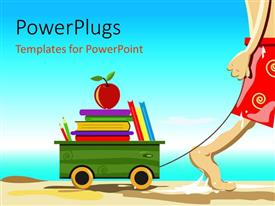PowerPlugs: PowerPoint template with a cartoon character dragging a box with stacks of book and an apple