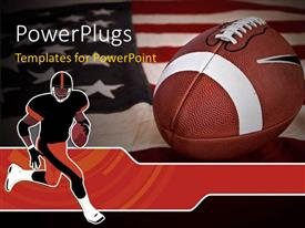 PowerPoint template displaying cartoon character of a football player running and a football on a USA flag