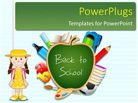 PowerPoint template displaying a cartoon character of a young girl with stationery's beside her