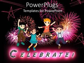 PowerPlugs: PowerPoint template with cartoon children jumping with fireworks, stars, celebrate
