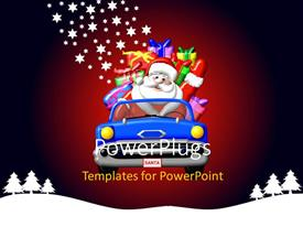 PowerPlugs: PowerPoint template with cartoon images of a car with Santa clause in it