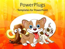 PowerPoint template displaying cartoon mammoth and dogs, animal temple background, story book, children