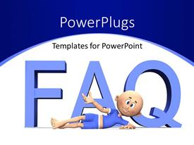 PowerPlugs: PowerPoint template with cartoon presenting FAQ with white color