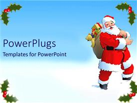 PowerPoint template displaying acartoon santa clause character carrying some christmas gifts
