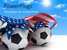 PowerPlugs: PowerPoint template with a number of footballs with an American flag with clouds in background