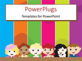 PowerPlugs: PowerPoint template with a cartoon theme of six kids standing in front of a colorful board