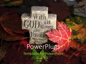 PowerPlugs: PowerPoint template with carved cross out of rock in autumn leaves with religious saying engraved