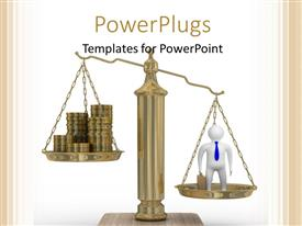 PowerPoint template displaying cashes and 3D businessman on weights with colored strips