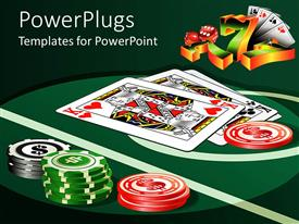PowerPoint template displaying casino theme with casino table, poker playing cards, poker chips, sevens and dice