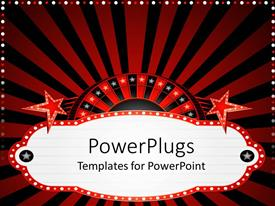 PowerPlugs: PowerPoint template with casino theme with half of roulette with white stars red and black stripes and red stars