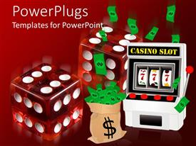 PowerPoint template displaying casino theme with two transparent red dice, slot machine and sack of money