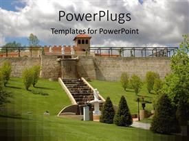 PowerPlugs: PowerPoint template with a castle with a lot of greenery