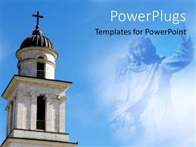 PowerPoint template displaying a cathedral with Marry in the background