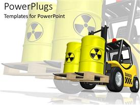 PowerPlugs: PowerPoint template with caution hazards  truck lift with yellow hazard containers  danger zone
